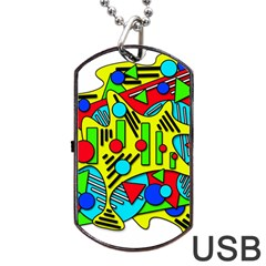 Colorful chaos Dog Tag USB Flash (Two Sides)