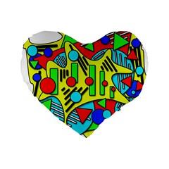 Colorful chaos Standard 16  Premium Heart Shape Cushions