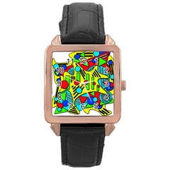 Colorful chaos Rose Gold Leather Watch