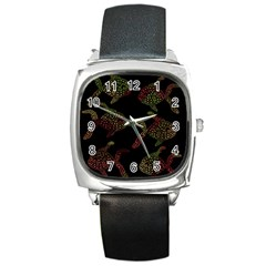 Decorative fish pattern Square Metal Watch