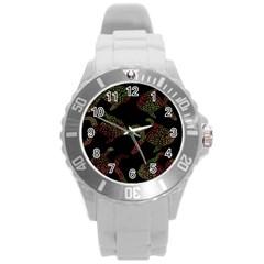 Decorative fish pattern Round Plastic Sport Watch (L)