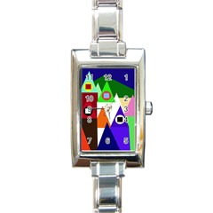 Colorful houses  Rectangle Italian Charm Watch