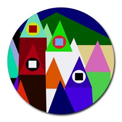Colorful houses  Round Mousepads