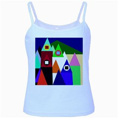 Colorful houses  Baby Blue Spaghetti Tank