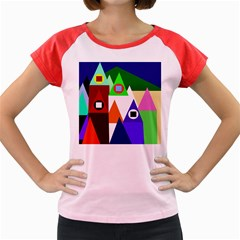 Colorful houses  Women s Cap Sleeve T-Shirt