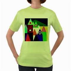 Colorful houses  Women s Green T-Shirt