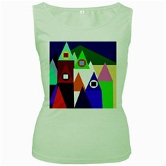 Colorful houses  Women s Green Tank Top