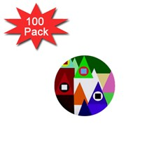 Colorful houses  1  Mini Buttons (100 pack)