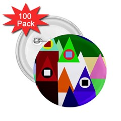 Colorful houses  2.25  Buttons (100 pack)