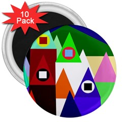 Colorful houses  3  Magnets (10 pack)