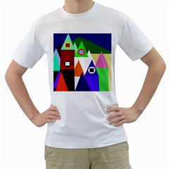 Colorful houses  Men s T-Shirt (White) (Two Sided)