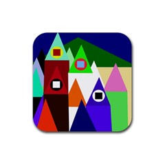 Colorful houses  Rubber Coaster (Square)