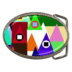 Colorful houses  Belt Buckles