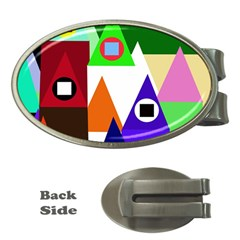 Colorful Houses  Money Clips (oval)
