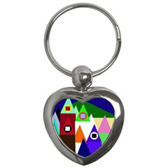 Colorful houses  Key Chains (Heart)