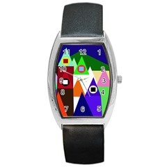 Colorful houses  Barrel Style Metal Watch