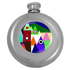 Colorful houses  Round Hip Flask (5 oz)
