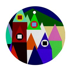 Colorful houses  Round Ornament (Two Sides)