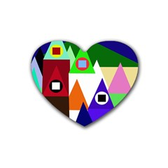 Colorful houses  Rubber Coaster (Heart)