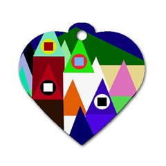 Colorful houses  Dog Tag Heart (One Side)