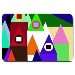 Colorful houses  Large Doormat