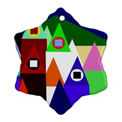 Colorful houses  Snowflake Ornament (2-Side)