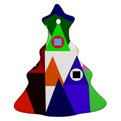 Colorful houses  Christmas Tree Ornament (2 Sides)