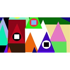 Colorful Houses  You Are Invited 3d Greeting Card (8x4)