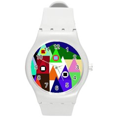 Colorful houses  Round Plastic Sport Watch (M)