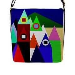 Colorful houses  Flap Messenger Bag (L)