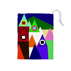 Colorful houses  Drawstring Pouches (Medium)