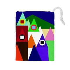 Colorful houses  Drawstring Pouches (Large)
