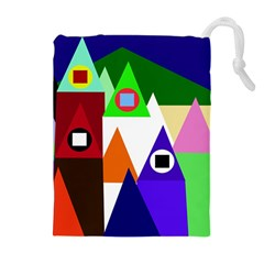 Colorful houses  Drawstring Pouches (Extra Large)