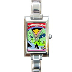 Colorful landscape Rectangle Italian Charm Watch