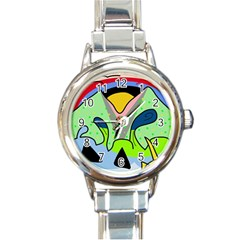 Colorful landscape Round Italian Charm Watch