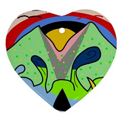 Colorful landscape Ornament (Heart)