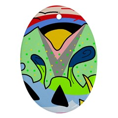 Colorful landscape Oval Ornament (Two Sides)