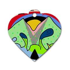 Colorful landscape Dog Tag Heart (One Side)