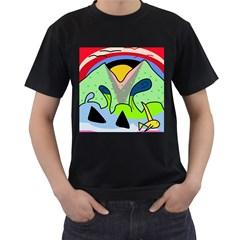 Colorful landscape Men s T-Shirt (Black)