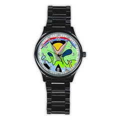 Colorful landscape Stainless Steel Round Watch