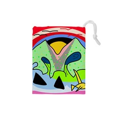 Colorful landscape Drawstring Pouches (Small)