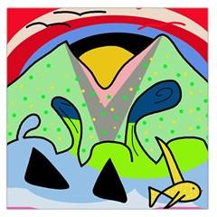 Colorful landscape Large Satin Scarf (Square)