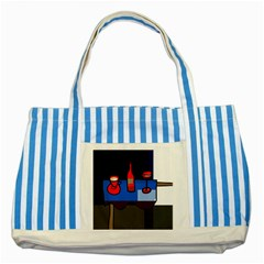 Table Striped Blue Tote Bag