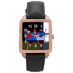 Table Rose Gold Leather Watch