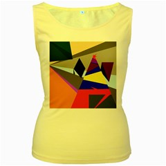 Geometrical abstract design Women s Yellow Tank Top