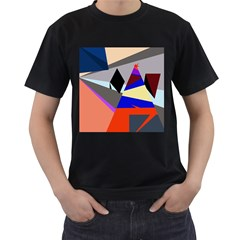 Geometrical abstract design Men s T-Shirt (Black) (Two Sided)