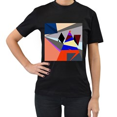 Geometrical abstract design Women s T-Shirt (Black) (Two Sided)