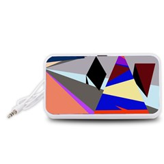 Geometrical abstract design Portable Speaker (White)