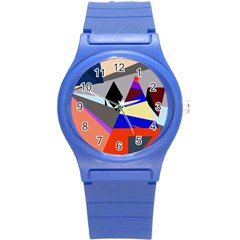 Geometrical abstract design Round Plastic Sport Watch (S)