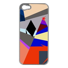 Geometrical abstract design Apple iPhone 5 Case (Silver)